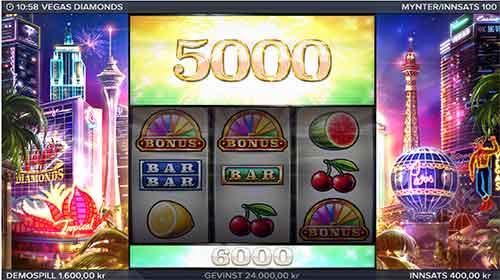 Vegas Diamonds stor gevinst