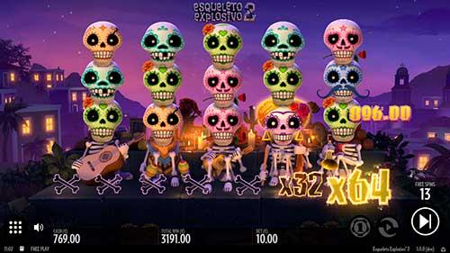 Esqueleto Explosivo 2 freespins multiplikator