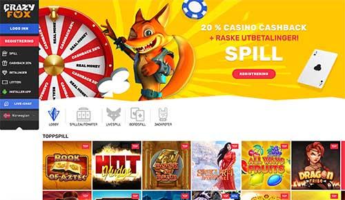 Crazy Fox hjemmeside