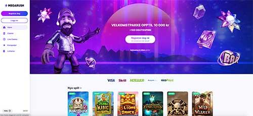 MegaRush Casino forside